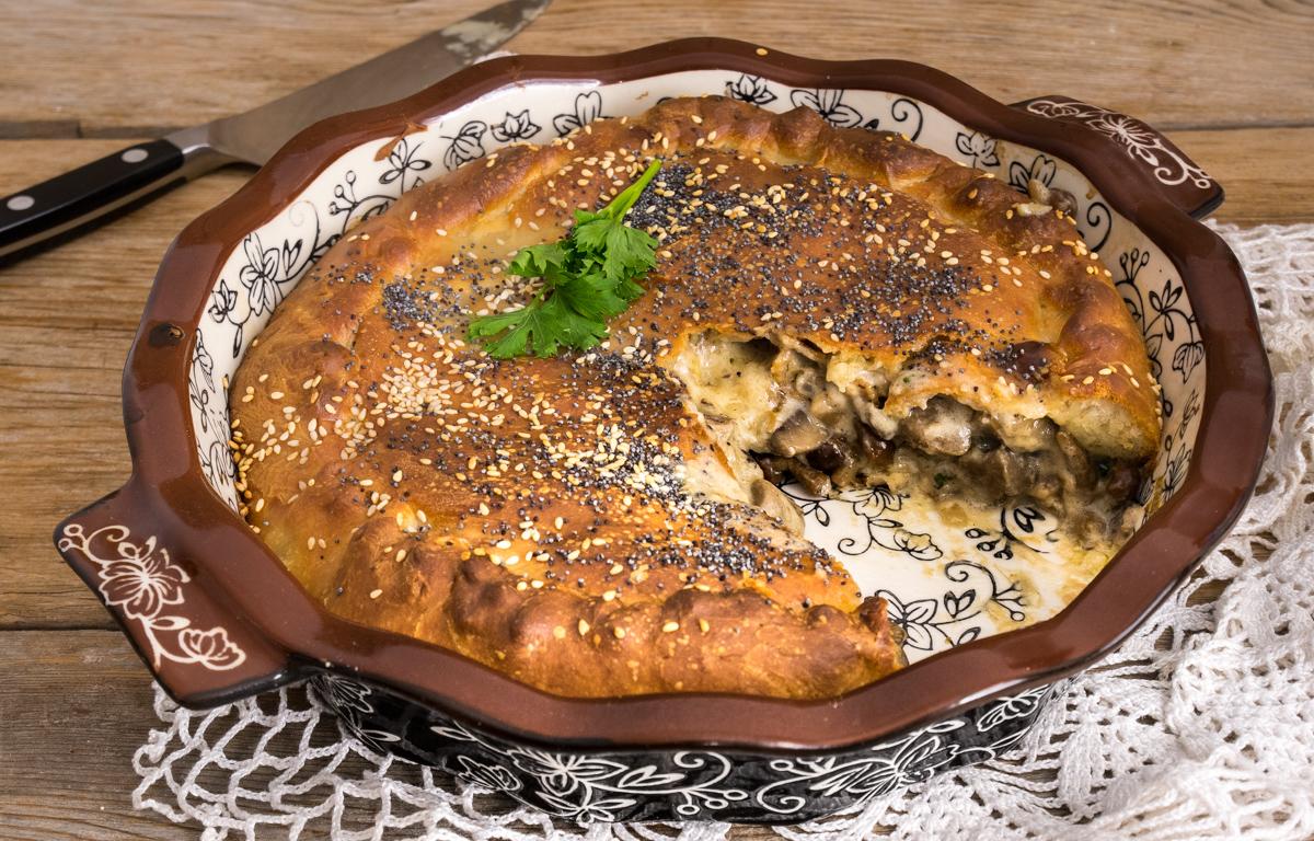 Torta Brioche Salata Funghi e Pancetta