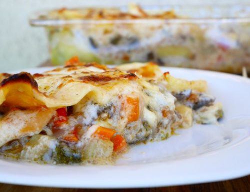 Lasagne con dadolata di verdure e scamorza affumicata