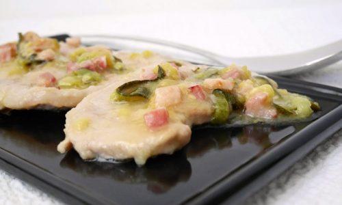 Lonza scaloppata con zucchine e pancetta