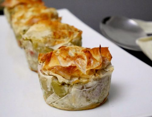 Pasta crema di carciofi e prosciutto alle erbe in crosta di pasta fillo
