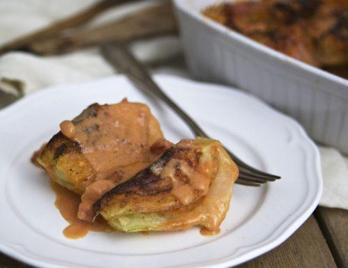 Finocchi gratinati con pancetta e salsa rosa