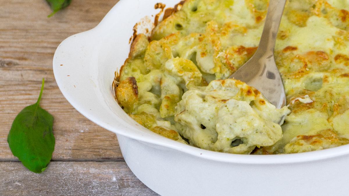 Pasta al forno pesto e mozzarella