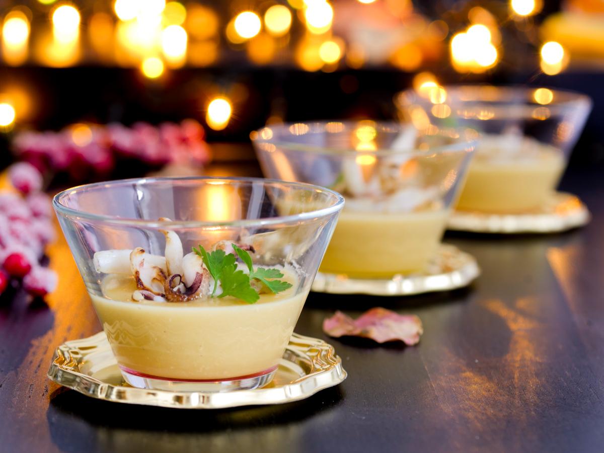 Crema di ceci con seppia arrostita