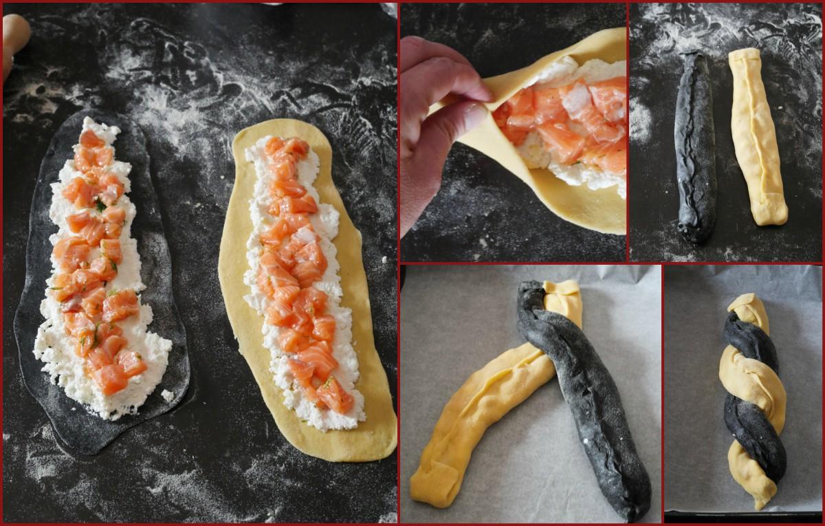 Strudel bicolore salmone e ricotta