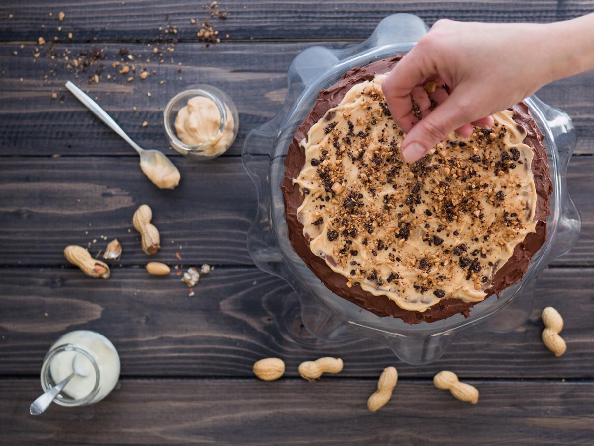 Torta cheesecake cioccolato e burro d'arachidi