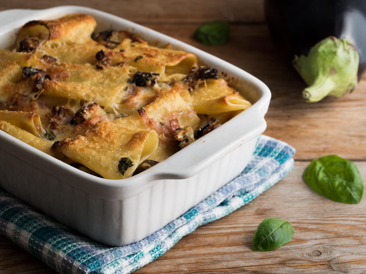Pasta al Forno Melanzane, Prosciutto e Mozzarella