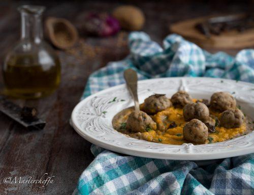 Polpettine di alici su vellutata di lenticchie e crema di zucca con olio al tartufo