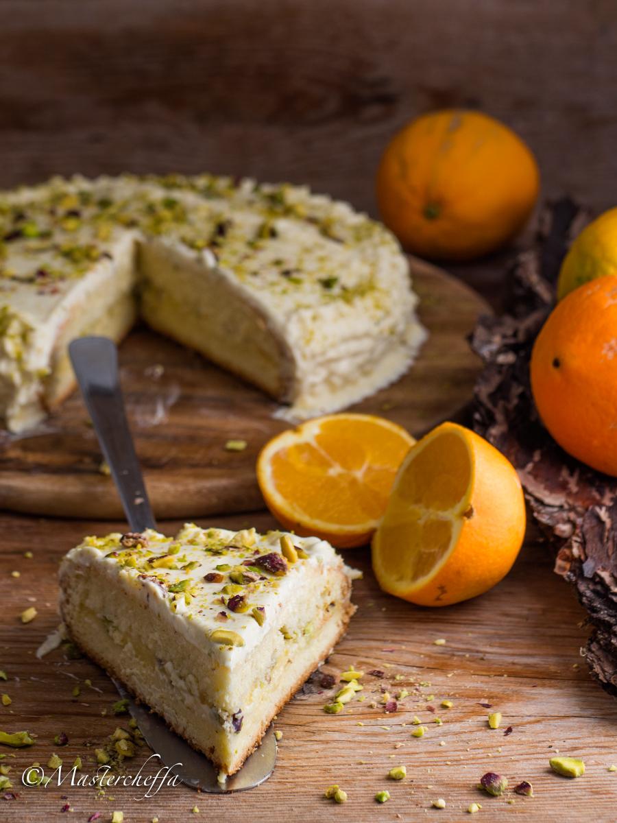 Torta crema all'arancia e pistacchi
