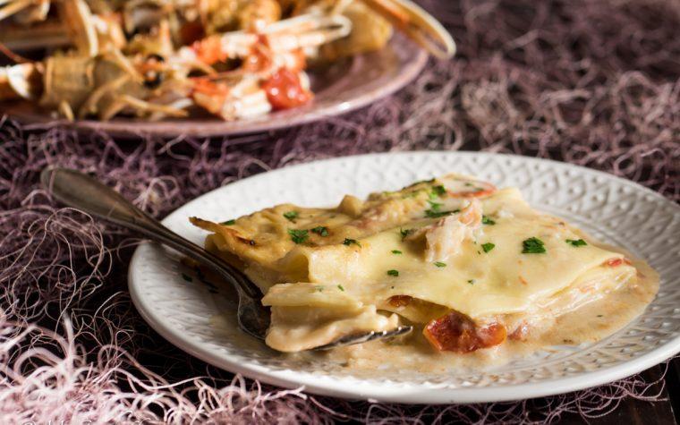 Lasagne alla crema di scampi e pomodorini