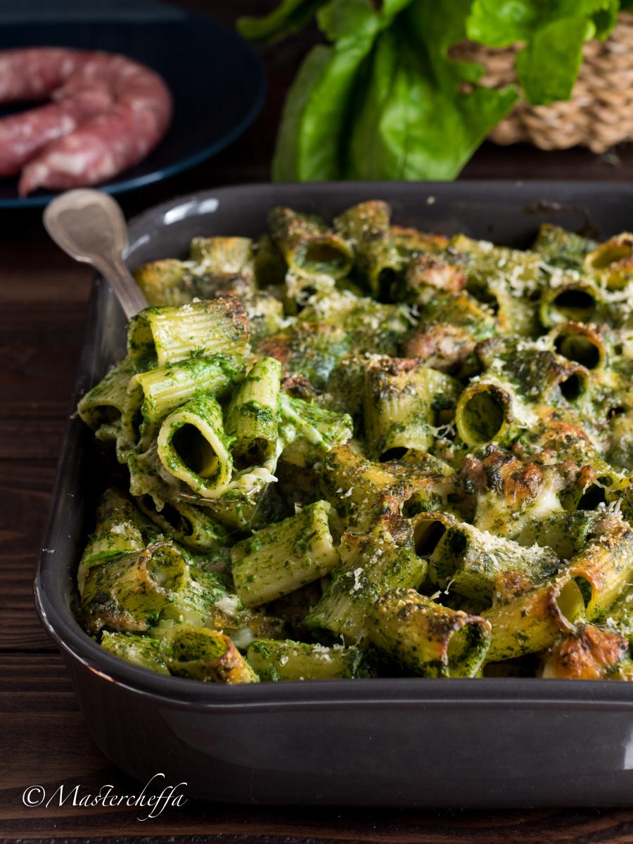 Pasta al Forno Crema di Spinaci e Salsiccia