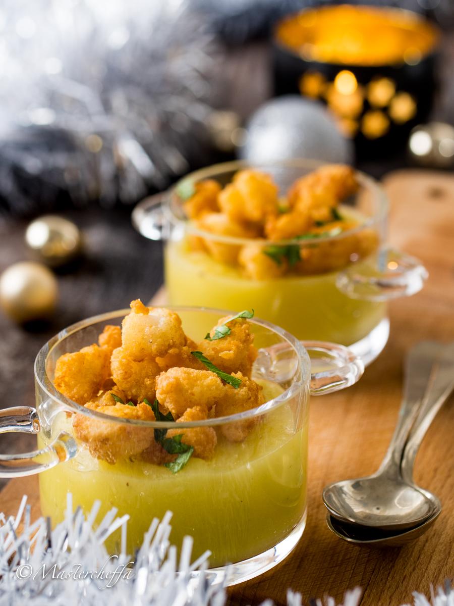 pepite di baccalà su crema di porri e patate