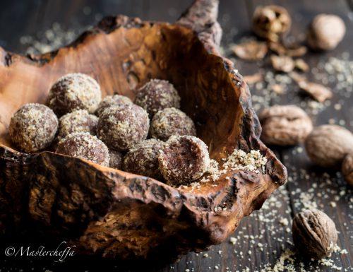Tartufini noci e cioccolato – ricetta facile senza cottura