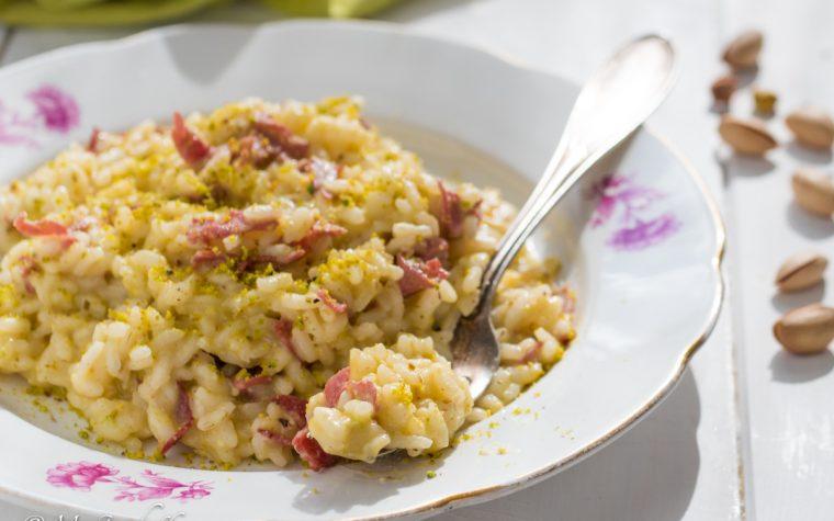 Risotto pesto di pistacchi e bresaola