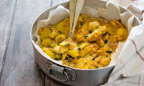 Pollo, patate e zucchine gratinati al forno