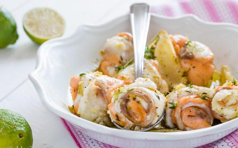 Rotolini di sogliola e salmone al lime
