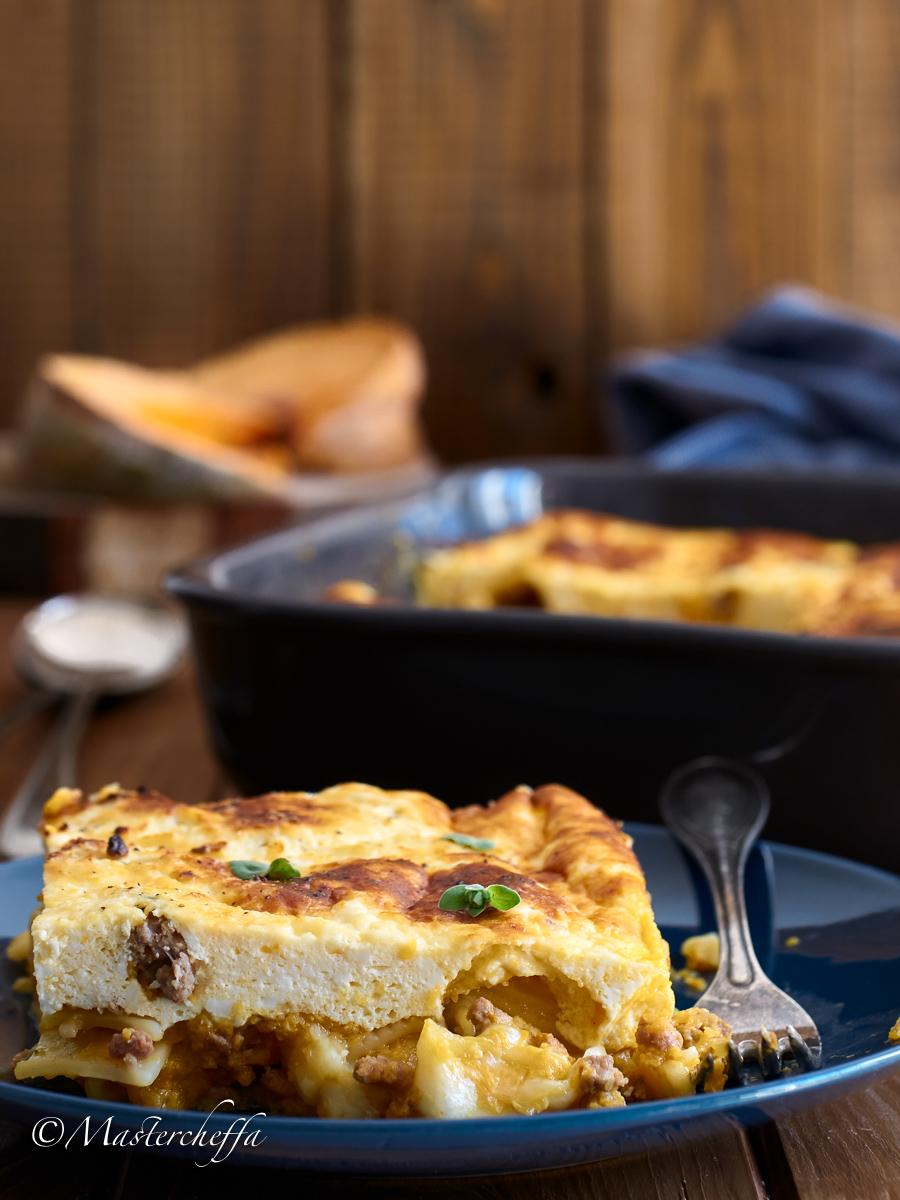 Pasta al Forno Ricotta e Ragù alla Zucca