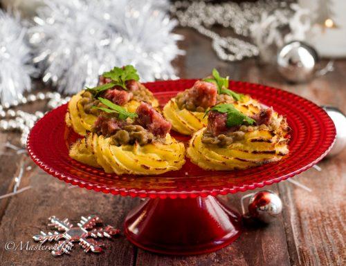 Cestini di patate cotechino e lenticchie