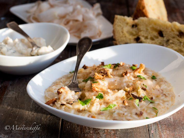 Risotto panettone gorgonzola e lardo