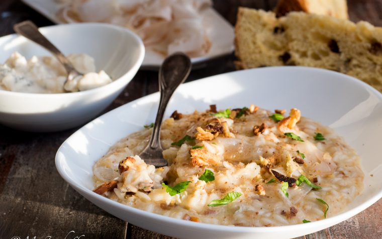 Risotto panettone, gorgonzola e lardo