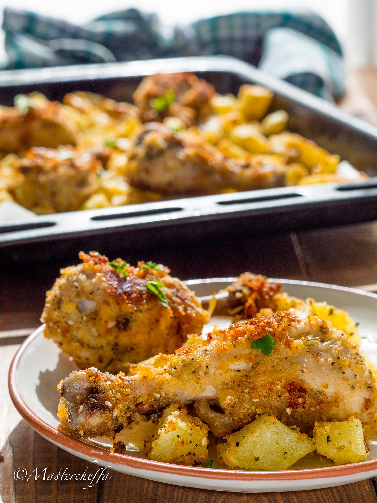 Fuselli di pollo saporiti croccanti al forno - ricetta fusi di pollo al forno