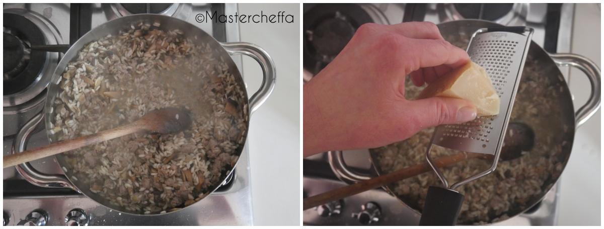 risotto con salsiccia e funghi passo passo 5