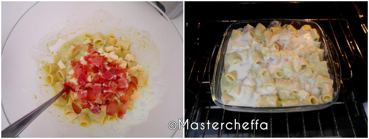Pasta al forno crema di zucchine, speck e provola affumicata passo passo 2