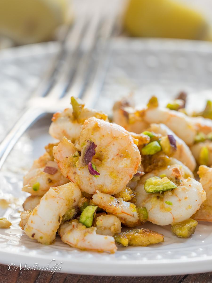 Gamberi al pistacchio in padella