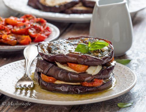 Tortini di melanzane con bufala e pomodorini confit