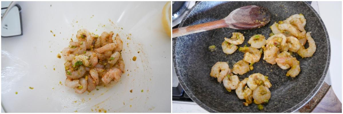 gamberi al pistacchio in padella passo passo