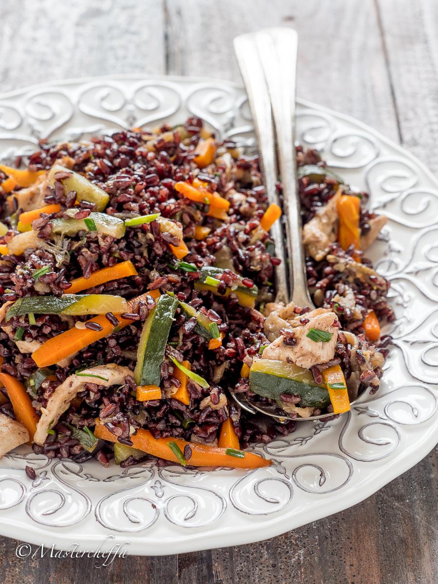 insalata di riso venere con pollo e verdure-2