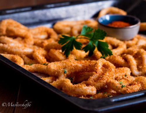 Anelli di calamari alla paprika al forno