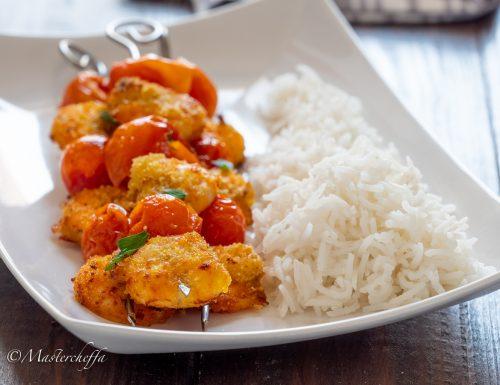 Spiedini di gamberi panati al curry