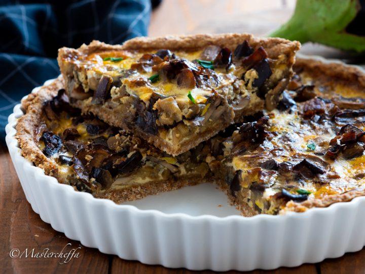 torta salata melanzane e funghi, ricetta torta salata integrale
