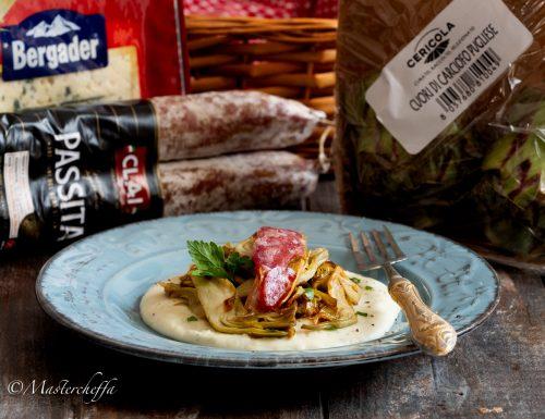 Carciofi in agrodolce su crema al Bergader Piccante con barchette di porri e passita, il mio piatto per la social dinner!