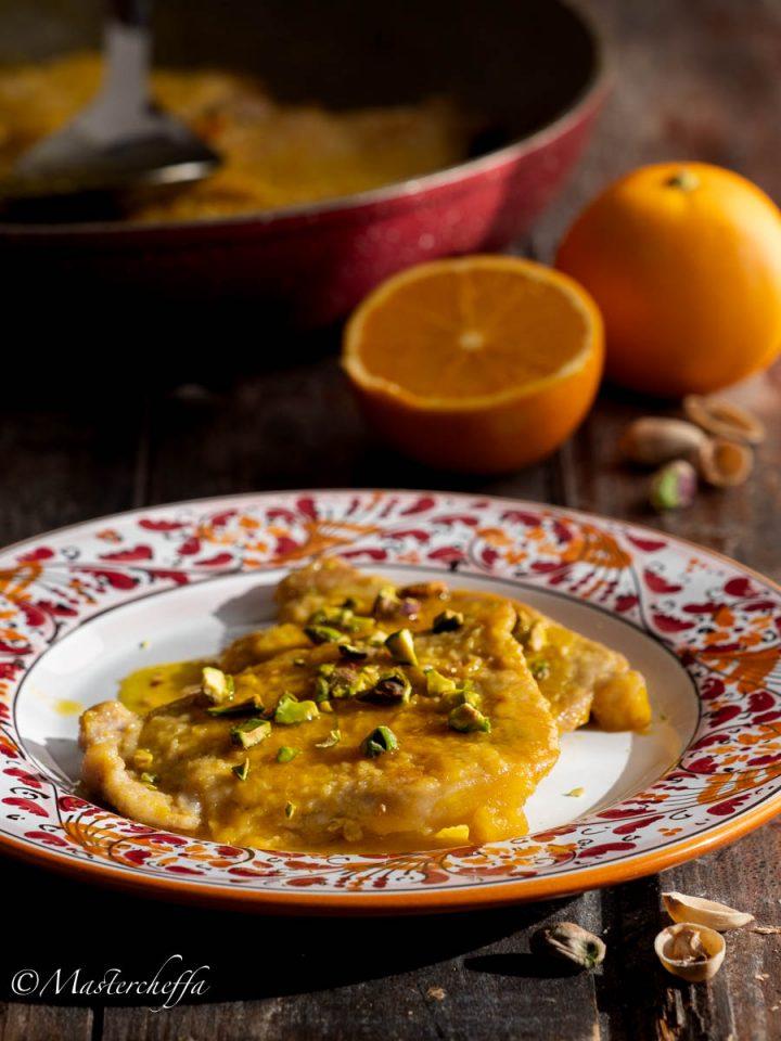 Lonza all'arancia con pistacchi