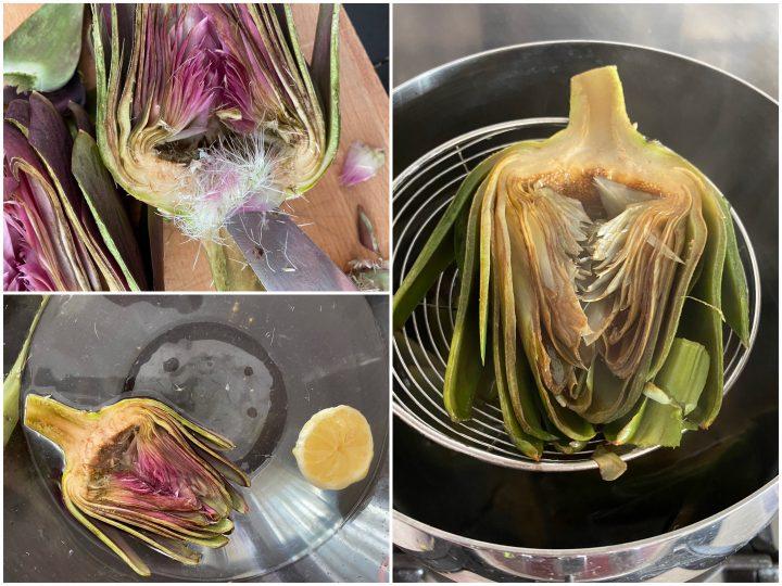 Carciofi ripieni di formaggio filante al forno passo passo 1