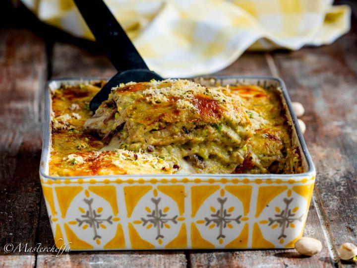 Lasagne pistacchio, radicchio e taleggio