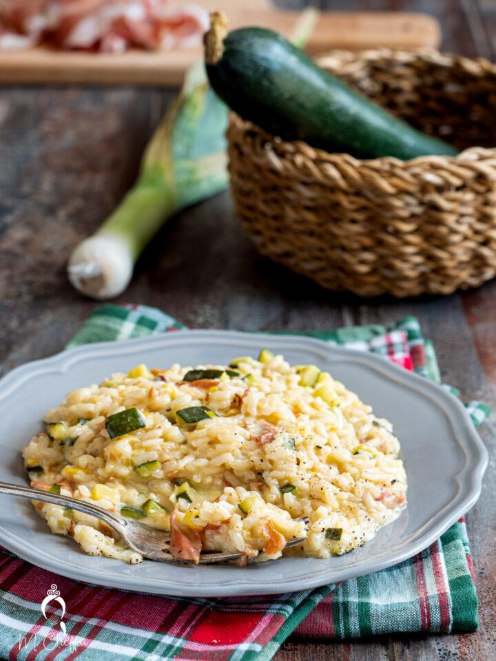 risotto zucchine, speck e stracchino
