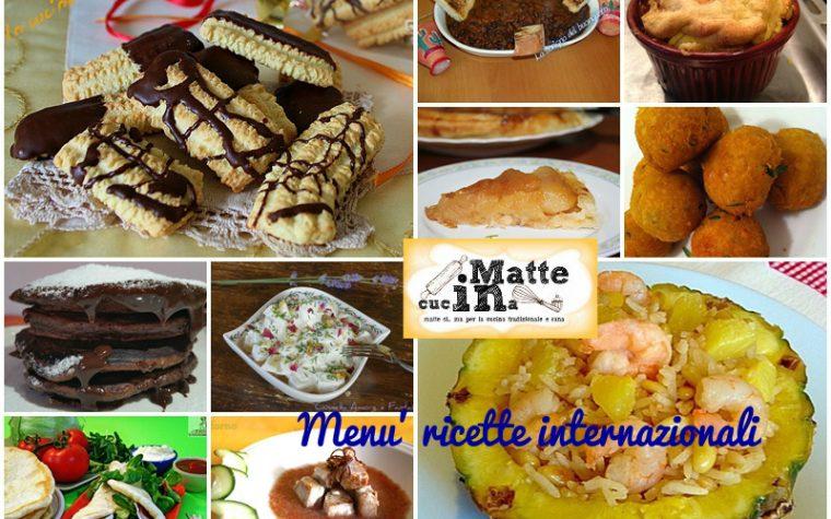 Menù  settimanale ricette internazionali