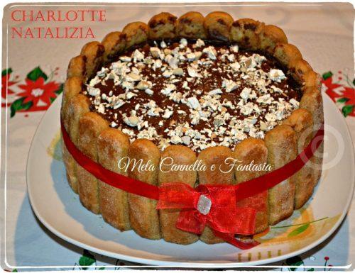 Charlotte con crema, ganache al cioccolato e scaglie di torrone
