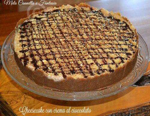 Cheesecake con crema al cioccolato, ricotta e mandorle tostate (senza cottura)