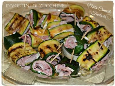 Involtini di zucchine grigliate con robiola e prosciutto cotto arrosto (ricetta light)