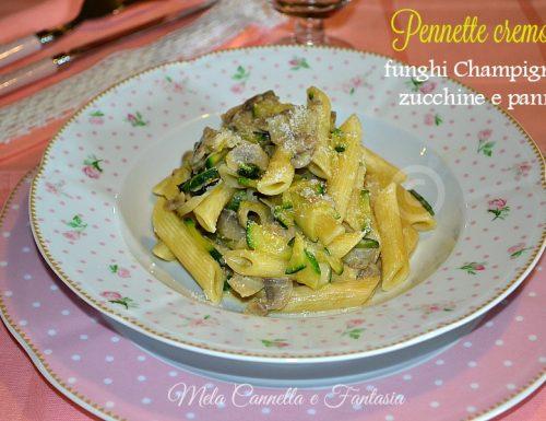 Pennette con funghi Champignon, zucchine e panna