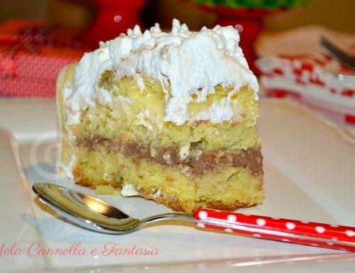 Torta classica di compleanno con crema pasticcera e crema al cioccolato