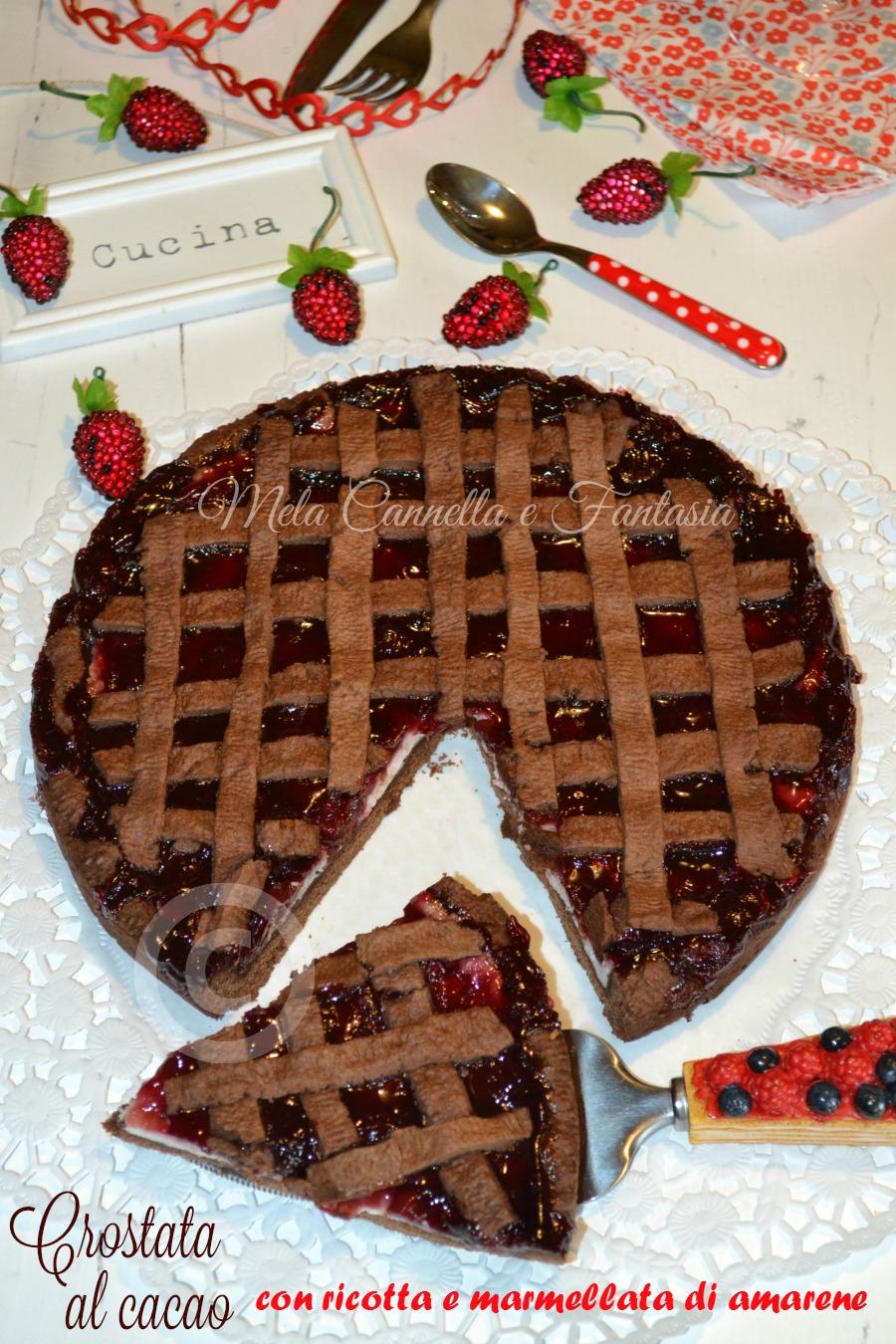 Crostata al cacao con ricotta e marmellata di amarene