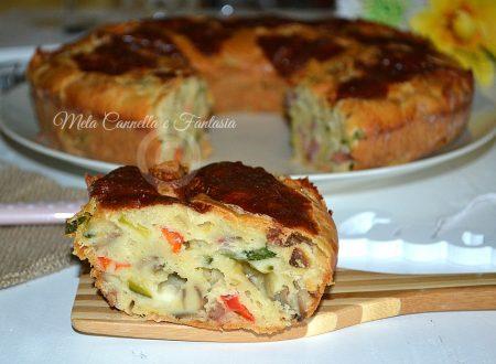Ciambellone salato funghi, gorgonzola e zucchine