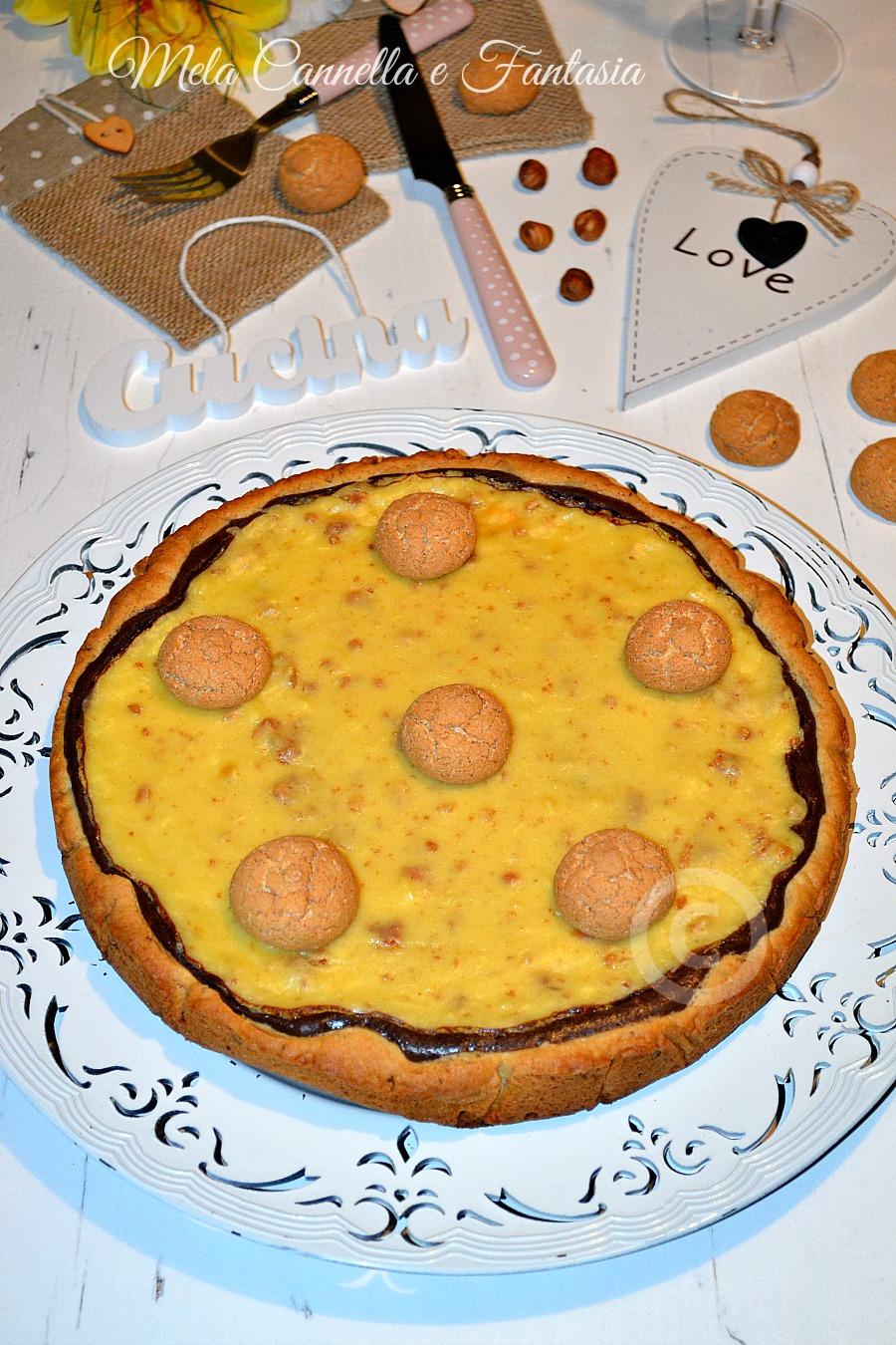 crostata bicolore con amaretti