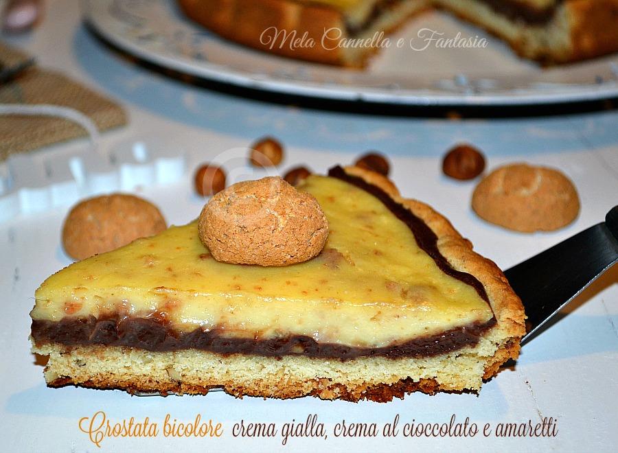 crostata crema gialla e crema al cioccolato