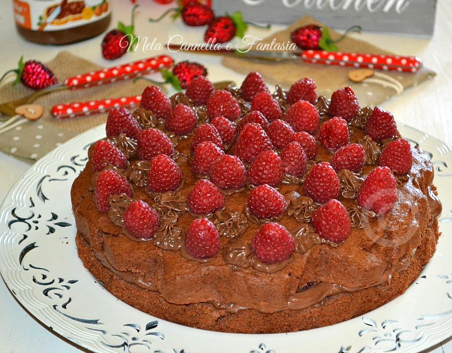 torta nutella e lamponi