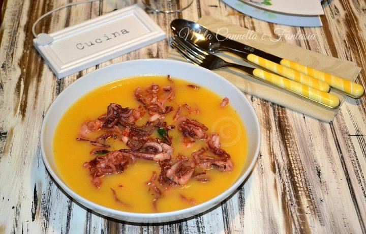 Crema di zucca con scampi e totani – ricetta facilissima